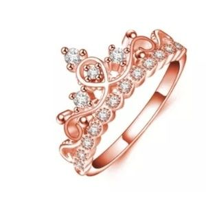 Princess Crown shape ring rose color